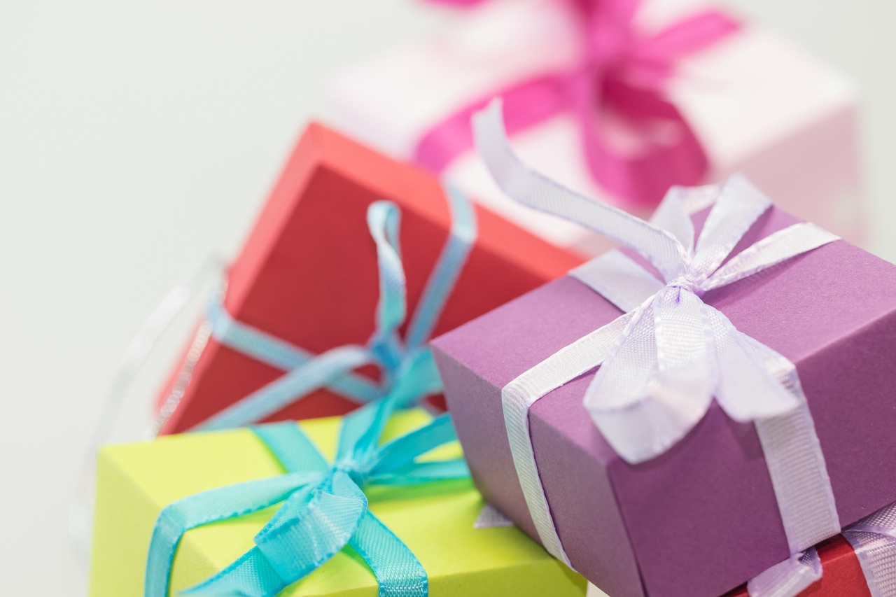 multi colored gift boxes